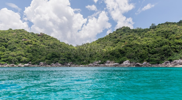 Tropical paradise on the island of koh tao and koh nang yuan in thailand, sea landscape photo.