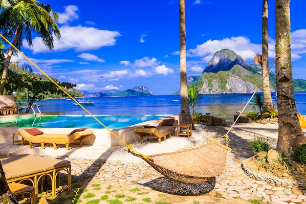 Tropical paradise nature and  exotic wild beauty of palawan island magical el nido philippiness