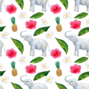 Tropical pattern with beautiful pink red flowers hibiscus and white frangipani or plumeria and pineapple and elephant. seamless texture. hand drawn watercolor illustration.