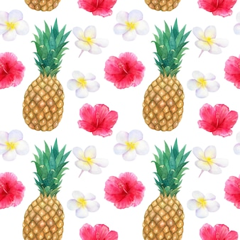 Tropical pattern with beautiful pink red flowers hibiscus and white frangipani or plumeria and pineapple. seamless texture. hand drawn watercolor illustration.