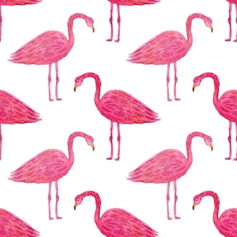 Tropical pattern with pink flamingo.