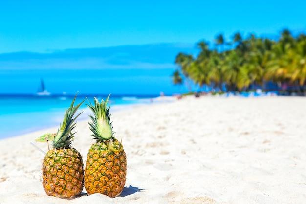 Коктейли из тропических ананасов на карибском пляже с пальмами и кораблем