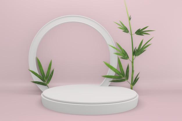 Тропический розовый дизайн подиум с минималистичным геометрическим орнаментом и бамбуковым японским декором. 3d-рендеринг