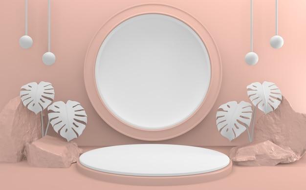 열대 핑크 연단 최소한의 디자인 제품 장면. 3d 렌더링