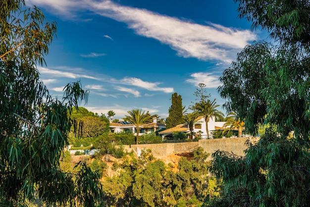 熱帯植物とスペイン風に建てられた典型的な家