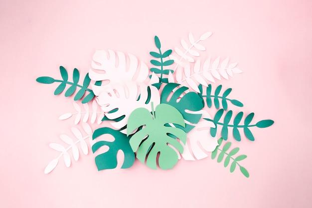 Тропические растения в стиле нарезанной бумаги