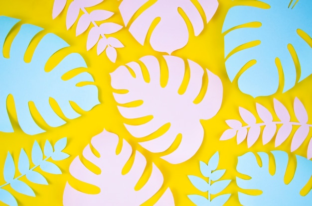Tropical plants in the style of cut paper on yellow background