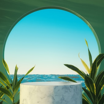 Tropical podium with round window and background sea with plants 3d
