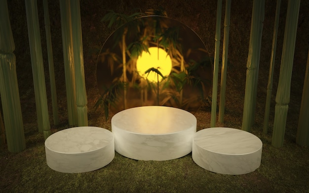 Tropical product stand with 3 cylindrical bases of marble, bamboo and a diffused glass circle with back lighting. 3d render
