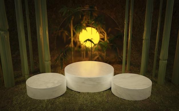 대리석, 대나무 및 백라이트가있는 확산 유리 원형으로 된 3 개의 원통형베이스가있는 열대 제품 스탠드. 3d 렌더링