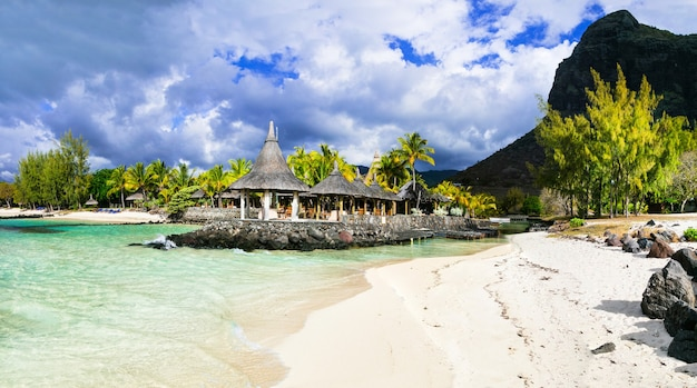 Tropical relaxing scenery - cosy small beach bar. mauritius island