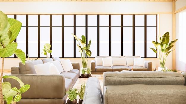 Тропический интерьер комнаты с диваном и растениями на деревянном полу