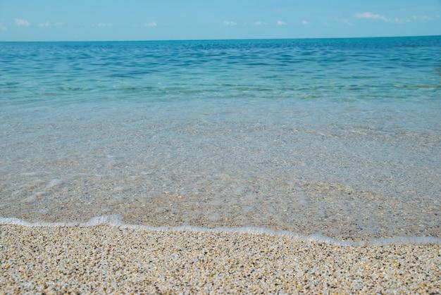 Тропический песчаный пляж с морскими волнами и камнями.