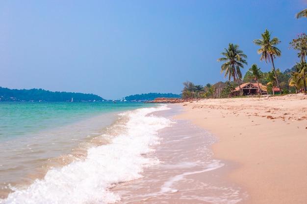Тропический морской берег с пальмами, голубое небо в солнечный день, отдых в азии