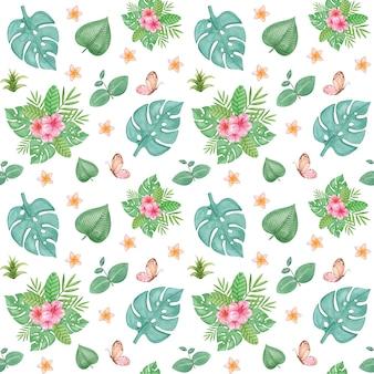 熱帯のシームレスなパターン、エキゾチックな葉の繰り返しパターン、ジャングル保育園の壁紙、紙