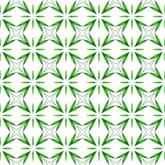 トロピカルなシームレスパターン。緑の最適な自由奔放に生きるシックな夏のデザイン。手描きの熱帯のシームレスな境界線。テキスタイルレディアライブプリント、水着生地、壁紙、ラッピング。