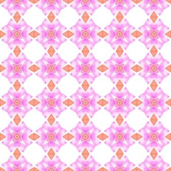 トロピカルなシームレスパターン。オレンジの魅力的な自由奔放に生きるシックな夏のデザイン。手描きの熱帯のシームレスな境界線。テキスタイル対応の理想的なプリント、水着生地、壁紙、ラッピング。