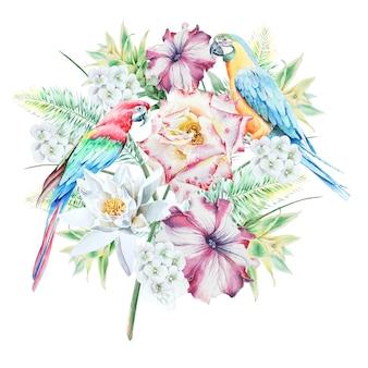 鳥の葉と花と熱帯のシームレスなパターン。オウム。ローズ。ペチュニア。リリー。アナナス。水彩イラスト。手で書いた。