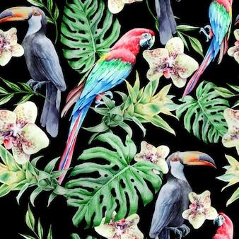 鳥の葉と花と熱帯のシームレスなパターン。オウム。オオハシ。モンステラ。蘭。アナナス。水彩イラスト。手で書いた。