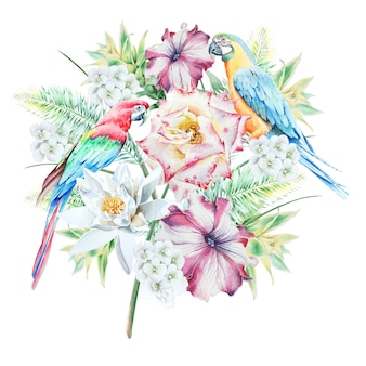 Tropical seamless pattern with birds leaves and flowers. parrot. rose. petunia. lily. bromeliad.  watercolor illustration. hand drawn.