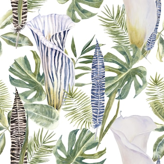 Tropical seamless pattern with exotic flowers and palm leaves