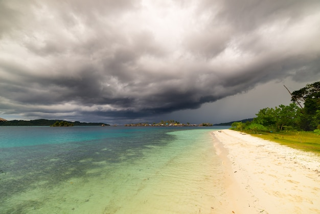 Tropical storm offshore on indonesian coastline
