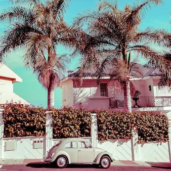 Тропический стиль. винтажный автомобиль и пляжные флюиды. модное туристическое настроение