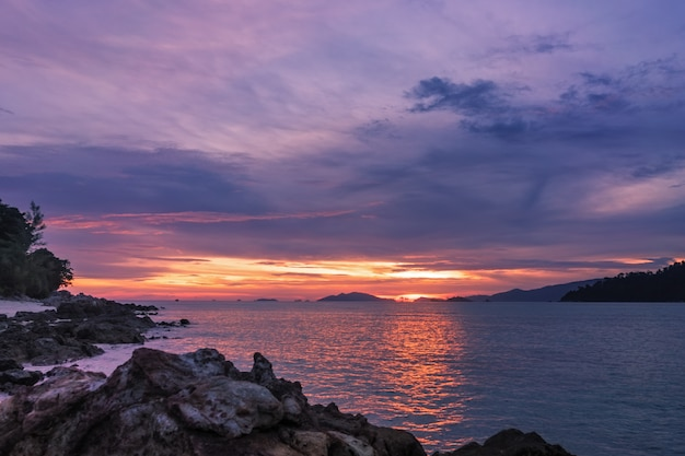 Tropical sunset on the beach,  koh lipe island paradise in the south andaman sea,  thailandseascape at sunset