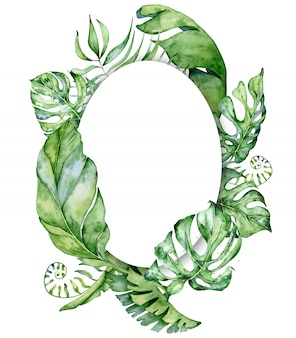 Tropical watercolor leaves frame background