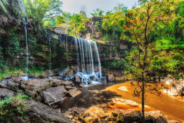Tropical waterfall hdr image