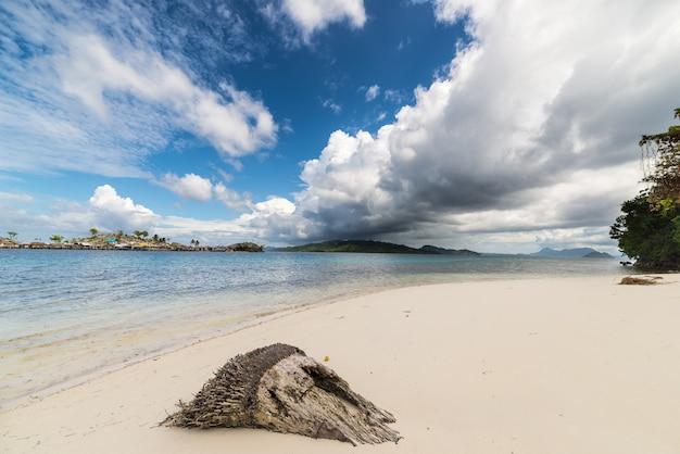 Tropical weather change on idyllic beach