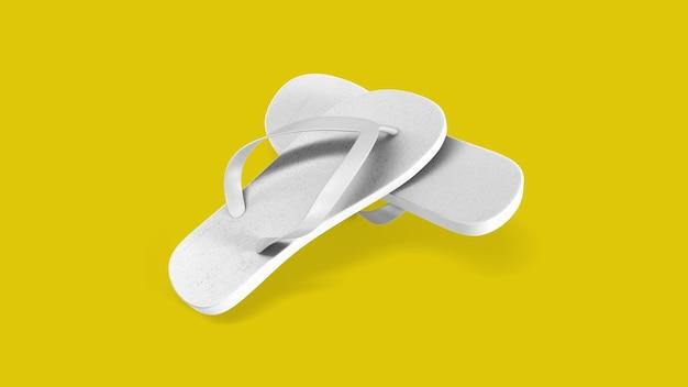 黄色に分離された熱帯の白いサンダル