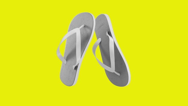黄色に分離された熱帯の白いサンダル Premium写真