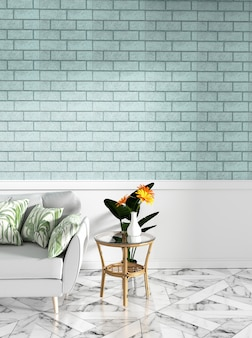Tropical with sofa and decoration and mint brick wall on granite floor