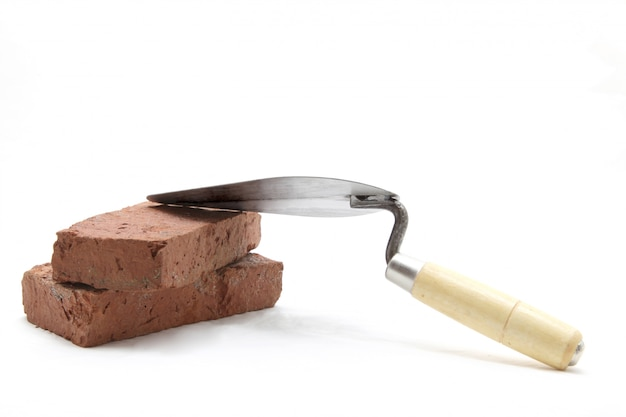 Trowel with red brick