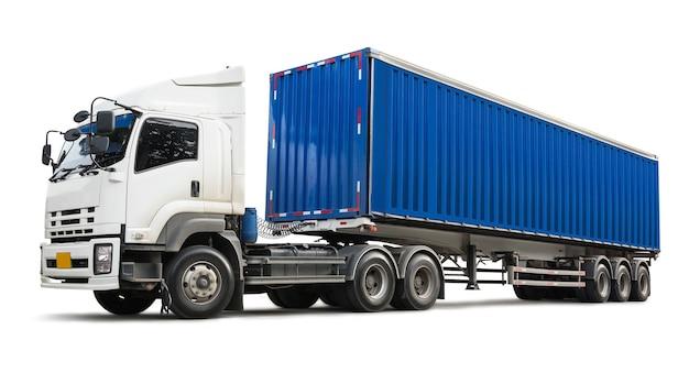 Грузовик и синий контейнер на белом