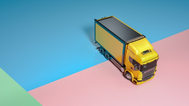 Truck car toy isolated on blue pastel colorful background automobile and transportation