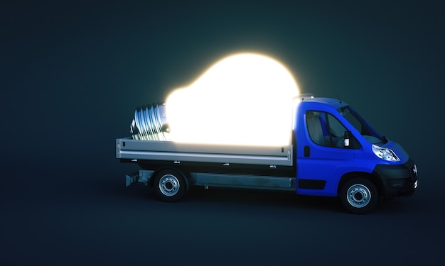 Truck carries a large lighted and luminescent light bulb. concept of idea and creativity, solutions. 3d render.