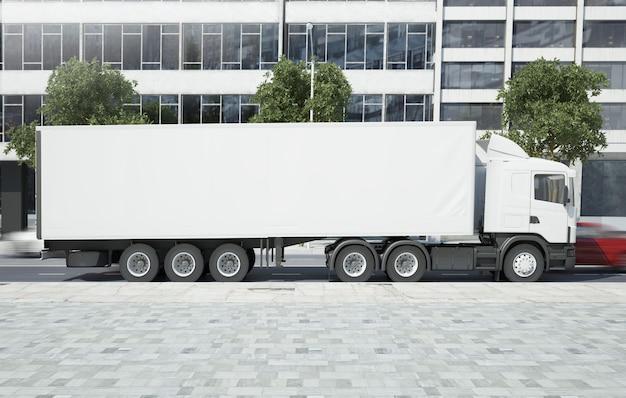 Truck on city street mockup