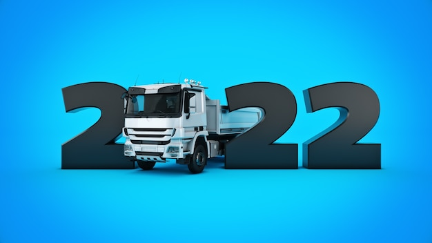 Концепция грузовика 2022 новый год знак 3d-рендеринга