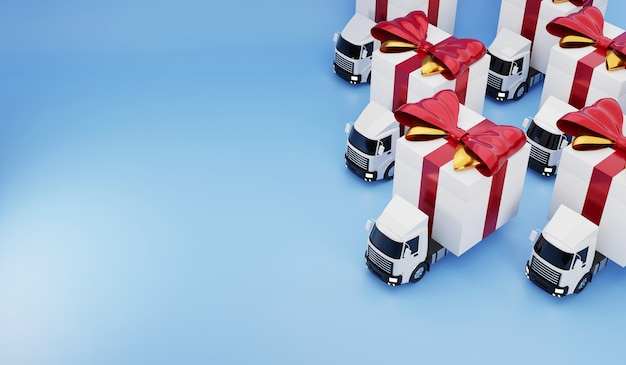 Truck delivery service happy gift box 3d render concept.