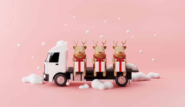 Truck delivery service with reindeer and happy gift box 3d render concept.