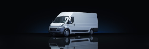 Truck fast shipping in dark background 3d rendering