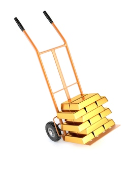Truck and gold bullion, isolated on a white background.