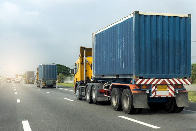 Truck on highway road container, transportation concept