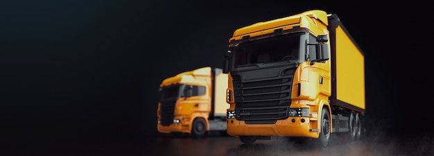 Truck is on a black background. truck 3d render and illustration.