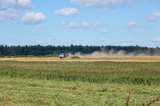 Truck loaded with millet in the countryside, driving across the field.