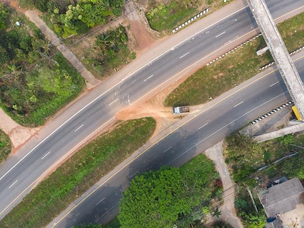 A truck making a turn at illegal u-turn