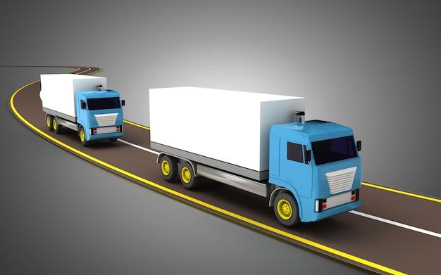 고속도로 개념에 트럭입니다. 3d 그림 프리미엄 사진