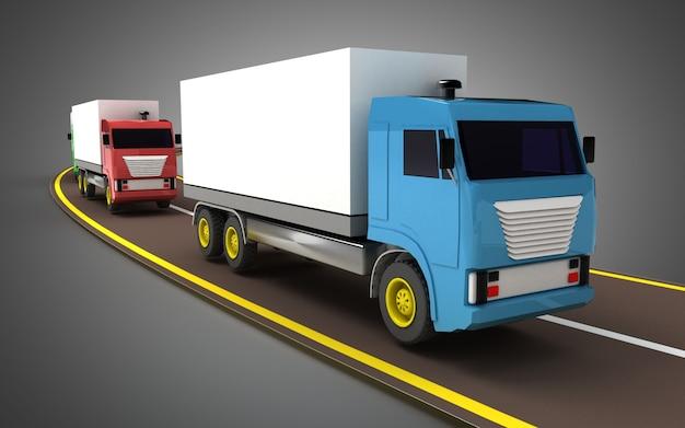 고속도로 개념에 트럭입니다. 3d 그림